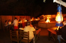 Outdoor dinner under the African stars at Kubu Lodge in prime game territory near not far from Kruger Park (Limpopo Province)