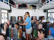 Hop aboard our bus, lets go river rafting!