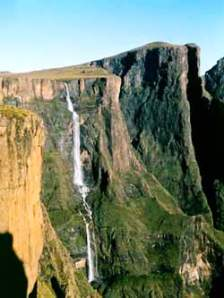 Tukela Falls From Mont Aux Sources 2nd highest waterfall in the world (KwaZulu Natal Province)